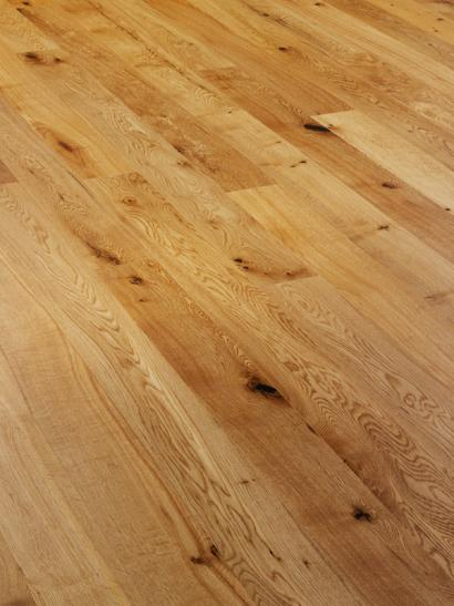 Rustic oak, brushed and mall lacquered engineered wooden flooring