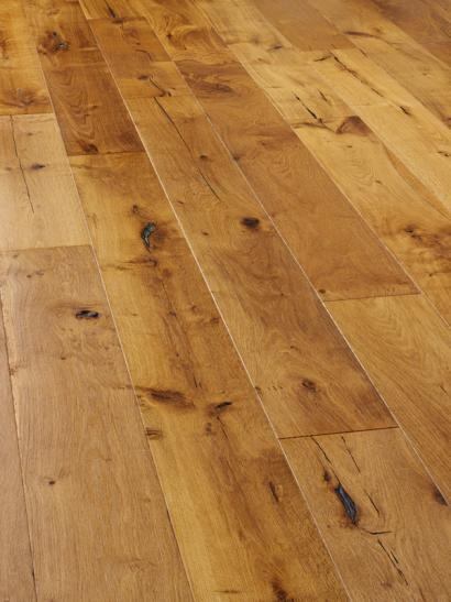 Oak, rustic, distressed and smoke oiled engineered wooden flooring