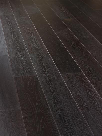 Oak, carbonised and UV oiled engineered wooden flooring